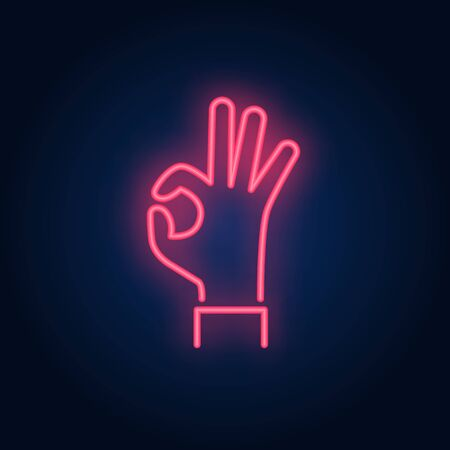 Okay neon sign. Glowing hand in okay gesture on brick wall background. Vector illustration can be used for gesturing, communication, chatting