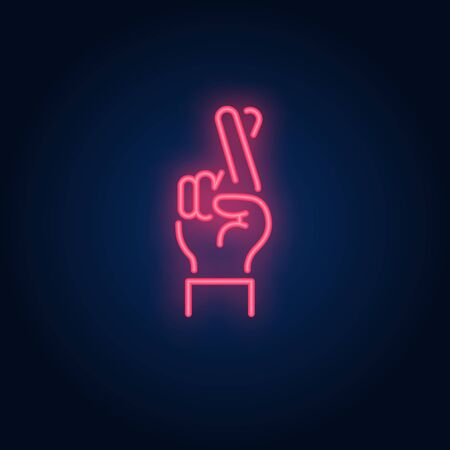Good luck neon sign. Glowing hand with two fingers crossed on brick wall background. Vector illustration can be used for gesturing, communication, chatting