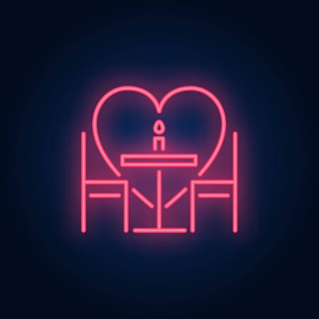 Romantic dinner neon sign. Glowing neon table, chairs and candle on brick wall background with red heart. Vector illustration can be used for romantic, love, dinner, dating