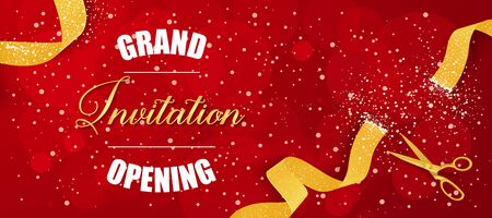 Grand Opening Invitation lettering with scissors and cut ribbon. Opening design element. Handwritten and typed text, calligraphy. For greeting cards, posters, banners, leaflets and brochures. Banco de Imagens