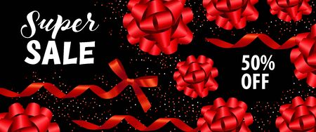 Super Sale poster design. Inscription with red festive bands on black background. Can be used for banners, advertisement, sales, discounts Stock Photo