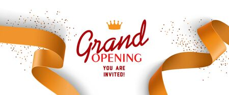 Grand opening invitation design with gold ribbons, crown and confetti. Festive template can be used for banners, flyers, posters.