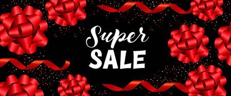 Super sale banner design. Inscription with red festive bands on black background. Can be used for banners, advertisements, sales, discounts