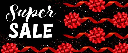 Super Sale coupon design. Lettering with red festive bands on black background. Can be used for coupons, sales, discounts, advertisement