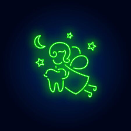 Tooth fairy neon sign. Luminous signboard with fantasy figure holding tooth. Night bright advertisement. Vector illustration in neon style for fairytale, dentistry, stomatology Stock Illustratie