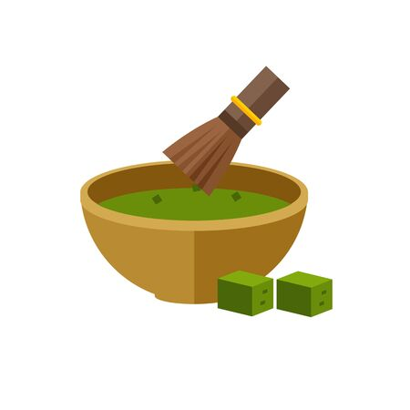 Image of matcha tea served in bowl with whisk and two green tea cubes beside