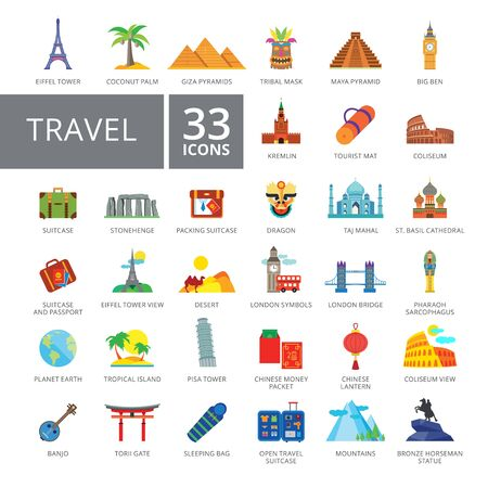Set of 33 flat icons representing travelling and tourism concepts