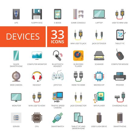 Set of 33 flat icons representing various electronic devices and gadgets Stock Photo