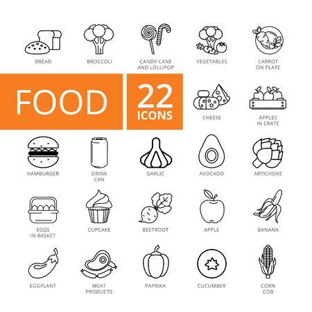 Food flat icons set. Twenty two line illustrations