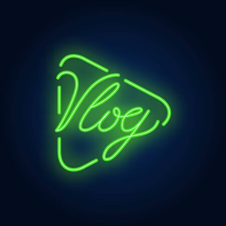 Vlog neon sign on brick wall. Bright lighting text on play button. Night bright advertisement. Vector illustration in neon style for blogging and personal channel Illustration