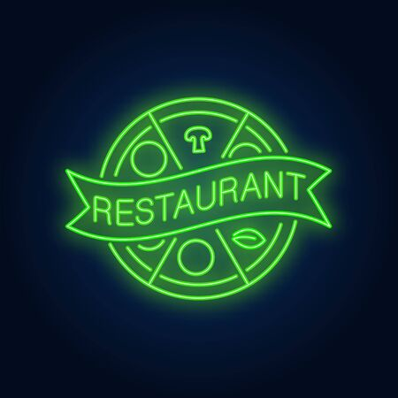 Restaurant neon sign. Pizza circle divided into slices with ribbon. Night bright advertisement. Vector illustration in neon style for pizza assortment and restaurant