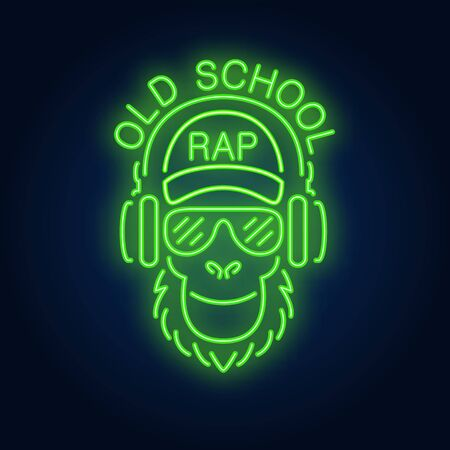 Old school rap neon text and cool monkey in glasses and headphones. Neon sign, night bright advertisement, colorful signboard, light banner. Vector illustration in neon style.
