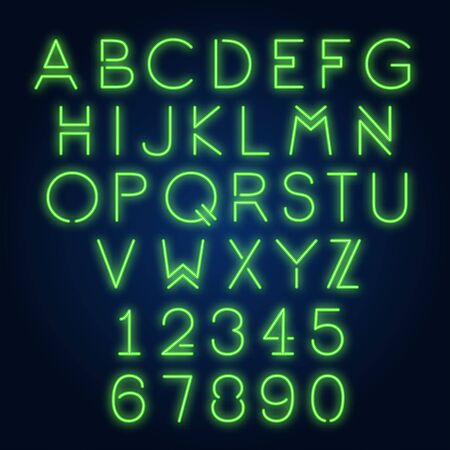 English alphabet and numbers. Neon sign with violet letters. Vector illustration in neon style for night bright advertisement. Vector Illustration