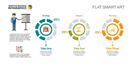 Three doughnut charts. Business data. Comparison, financial, diagram. Creative concept for infographic, templates, presentation. Can be used for topics like statistics, finance, management.