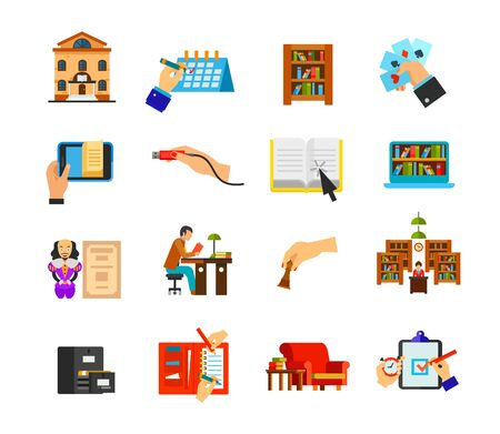 Library icon set. Library building Schedule Bookcase Playing cards E-book Usb plug insert Online material Digital library Shakespeare Student Chess Librarian Catalog Organizer Couch Deadline time