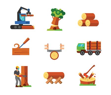 Sawmill icon set. Tractor Falling tree Logs Chisel Hands sawing log Wood transportation Lumberjack cutting tree with chain saw Log on Saw horse Axe chopping log