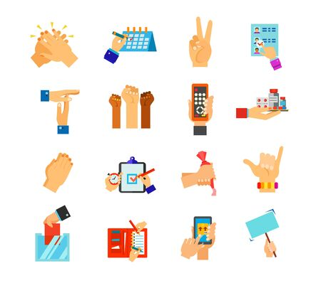 Symbolic hands icon set. Clapping Schedule Peace gesture Vote paper Break Riot Remote control Pills Praying Deadline Cake decoration Surfers shaka Ballot box Time allocation Package tracking Protest