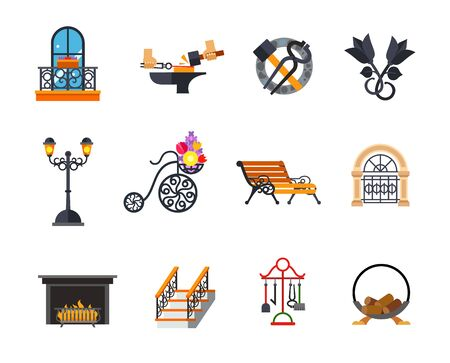 Iron works icon set. Forged balcony Forging metal Blacksmith tools Metal roses Outdoor street lamp Flower basket Decorative bench Forged gates Fireplace Forged ladder Fireplace accessories Wood holder