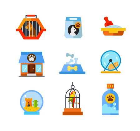 Pet shop icon set. Dog in pet travel crate Cat food bag Cat litter box Store building Food bowl with bones Hamster running in wheel Fishbowl aquarium with castle Parrot in cage Pet shampoo bottle