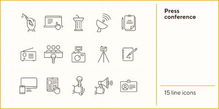 Press conference icons. Line icons collection on white background. Interview, tribune, radio. Journalism concept. Vector illustration can be used for topics like media, communication, broadcast Çizim