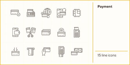 Payment line icon set. Banking and cash concept. Vector illustration can be used for topics like shopping, supermarkets, stores 向量圖像
