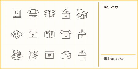 Delivery line icon set. Delivery and packaging concept.Vector illustration can be used for topics like post office, courier, logistics