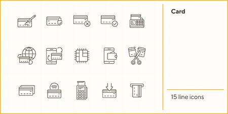 Card line icon set. Banking and cash concept. Vector illustration can be used for topics like shopping, supermarkets, stores