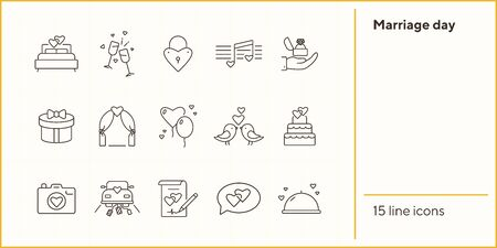 Marriage day line icons. Set of line icons. Birds, just married car, bed. Wedding concept. Vector illustration can be used for topics like marriage, family, love Illustration
