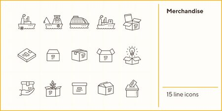 Merchandise line icon set. Delivery and packaging concept.Vector illustration can be used for topics like post office, courier, logistics Illustration
