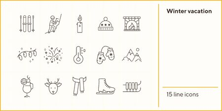 Winter vacation line icon set with Christmas reindeer and scarf. Sledge, ice skates, hot drink, mountain. Can be used for topics like New year, holidays, outdoor activity