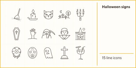 Halloween signs icons. Cat, Dracula, crossed bones. Halloween concept. Vector illustration can be used for topics like holiday, festivals, celebration Illustration