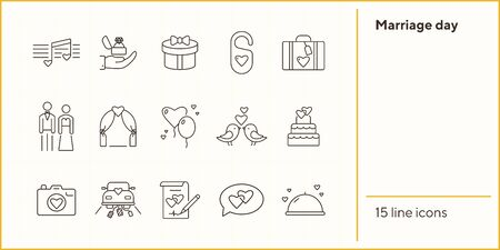 Marriage day icons. Set of line icons. Proposal, just married car, wedding cake. Wedding concept. Vector illustration can be used for topics like marriage, family, love Illustration