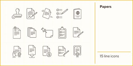 Papers line icon set. Document, note, agreement. Paperwork concept. Can be used for topics like business, contract, planning, strategy