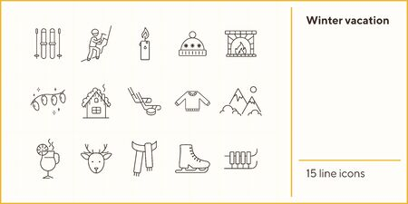 Winter vacation line icon set with house and fireplace. Fairy lights, ice hockey, mountain. Hello winter concept. Can be used for topics like New year, holidays, outdoor activity