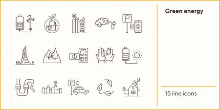 Green energy icons. Set of line icons. Hands holding plant, electro car, bike rent. Alternative energy concept. Vector illustration can be used for topics like environment, ecology, technology Standard-Bild - 147692846