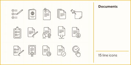 Documents line icon set. Papers, clipboard, checklist. Paperwork concept. Can be used for topics like business, agreement, deal Illustration