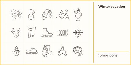 Winter vacation line icon set with Christmas stocking and snowman. Inflatable sledge, cocoa, snowmobile. Can be used for topics like New year, holidays, outdoor activity Illustration