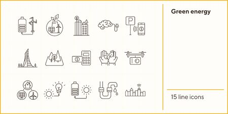 Green energy line icons. Set of line icons. Quadcopter with box, car charging station, windmill. Alternative energy concept. Vector illustration can be used for topics like environment, ecology Standard-Bild - 147648472