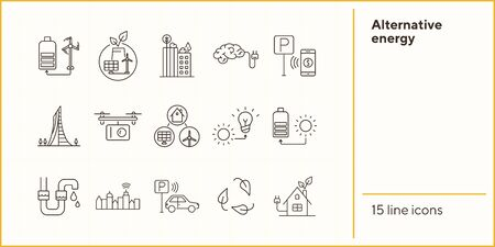 Alternative energy icons. Set of line icons. Sun with charge, water tube, car park. Alternative energy concept. Vector illustration can be used for topics like environment, ecology, technology Standard-Bild - 147692898