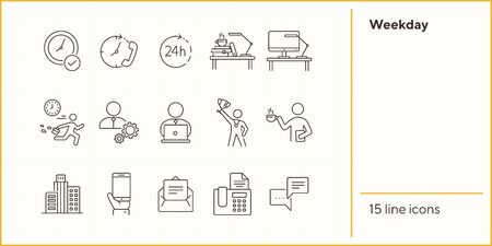 Weekday line icon set. Late for work, coffee break, office building. Business concept. Can be used for topics like worker, employee, manager Ilustración de vector