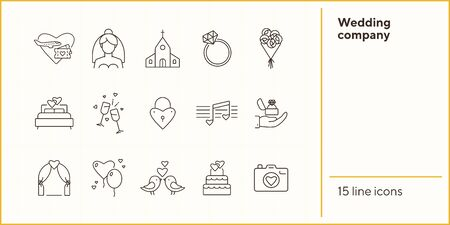 Wedding company icons. Wedding arch, just married car, bouquet. Wedding concept. Vector illustration can be used for topics like marriage, family, love
