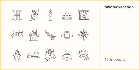 Winter vacation line icon set with cocoa and Christmas stockings. Inflatable sledge, sweater, fireplace. Can be used for topics like New year, holidays, outdoor activity