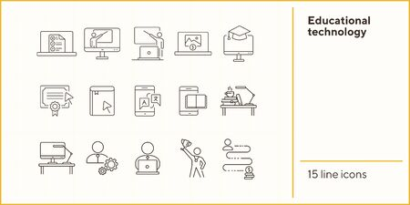Educational technology line icon set. Computer, online class, lection. Webinar concept. Can be used for topics like distant education, development, e-learning