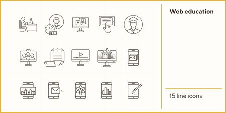 Web education line icon set. Computer, tutorial, lesson. Online course concept. Can be used for topics like knowledge, university, e-learning 向量圖像
