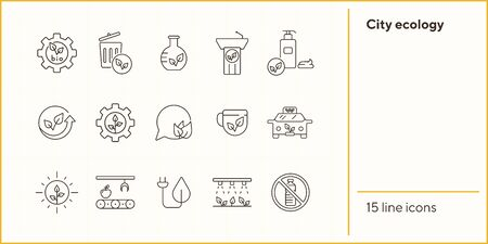 City ecology line icons. Set of line icons. Cup, speechbubble, recycling. Eco technology concept. Vector illustration can be used for topics like ecology, technology, environment