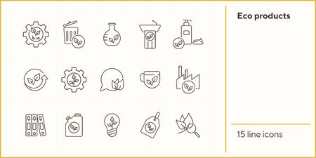 Eco products line icons. Set of line icons. Factory, liquid soap, bulb. Eco technology concept. Vector illustration can be used for topics like ecology, technology, environment Standard-Bild - 147692938
