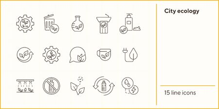 City ecology icons. Plug, speechbubble, recycling. Eco technology concept. Vector illustration can be used for topics like ecology, technology, environment