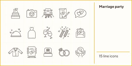 Marriage party line icons. Set of line icons. Wedding ring, just married car, balloons. Wedding concept. Vector illustration can be used for topics like marriage, family, love Illustration