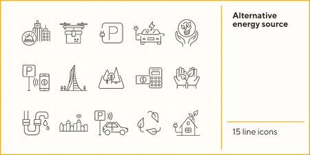 Alternative energy source icons. Set of line icons. Electrical car, plant in hands, water tube. Alternative energy concept. Vector illustration can be used for topics like environment, ecology Illustration