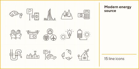 Modern energy source icons. Set of line icons. Quadcopter, brain with plug, car park payment. Alternative energy concept. Vector illustration can be used for topics like environment, ecology